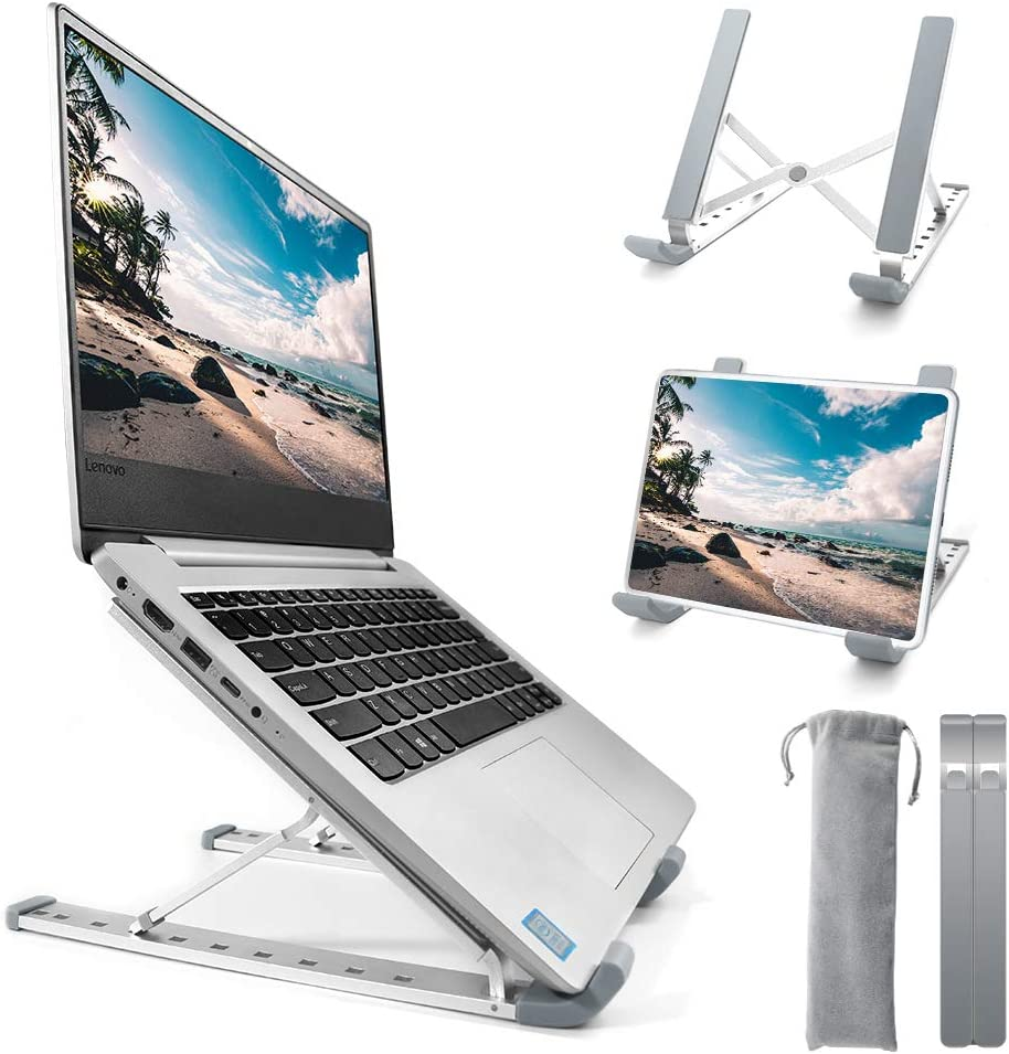 Homesuit Laptop Stand Adjustable Aluminum Laptop Computer Stand Tablet Stand,9-Angles Ergonomic Foldable Desktop Holder Compatible with MacBook, Air Pro, Dell XPS, Samsung, All Laptops 10-17.3