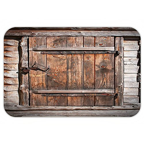 VROSELV Custom Door MatVintage Decor Rustic Wooden Door of Old Barn in Farmhouse Countryside Village Aged Rural Life Image (Cat In Costumes Commercial)