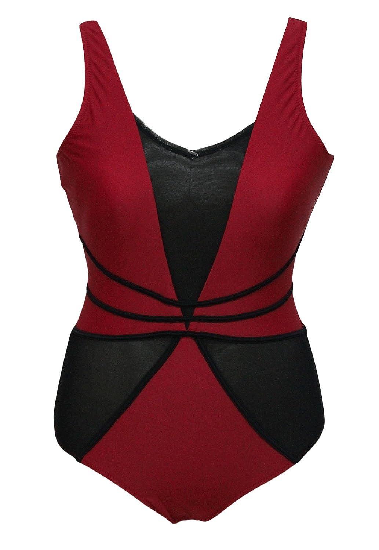 Beachwear Of London-roter Badeanzug mit schwarzem Stoff Ausschnitt
