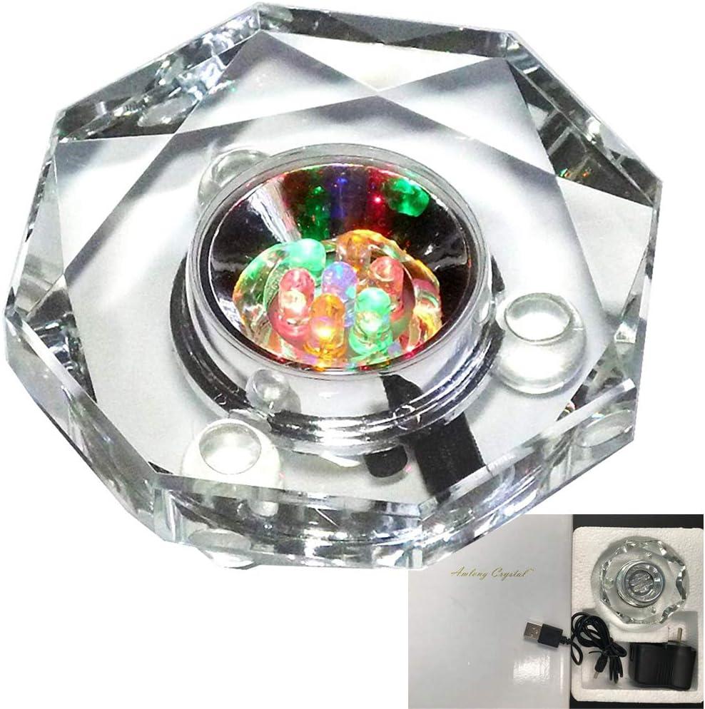 Amlong Crystal 7 LED Colored Lights Illuminated Octagon Crystal Display Stand
