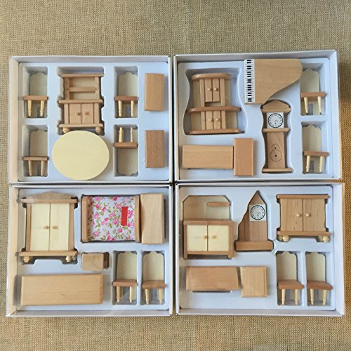 Miniature Doll Furniture - 4 Boxes Set Dollhouse Miniature Unpainted Wooden Furniture Suite 1/24 Scale Model by worldpeace09