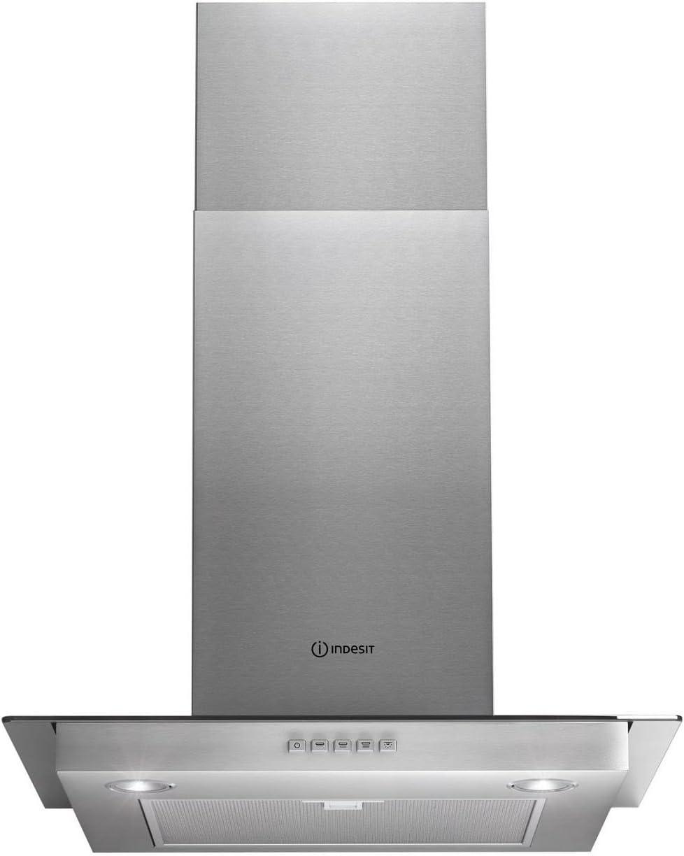 Campana de cocina Indesit IHF65SAMIX, extractor de cocina, de acero inoxidable, 60 cm, con base de cristal: Amazon.es: Grandes electrodomésticos