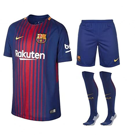 FCB Juego Completo de Camisa, Pantalones Cortos y Calcetines para niños 2017/18 de