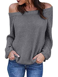 6df5103b270773 Sysea Womens Sexy V Neck Pullover Sweaters Oversized Off Shoulder Chunky  Knit Jumpers