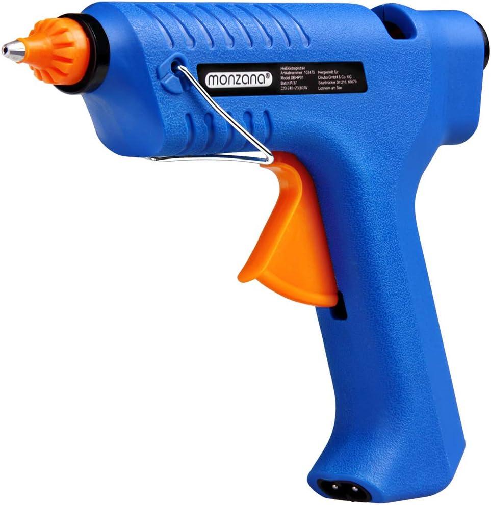 Deuba Pistola de Silicona 80W caliente inalámbrica con estación de carga y maletín pistola de pegamento para bricolaje reparaciones casa oficina