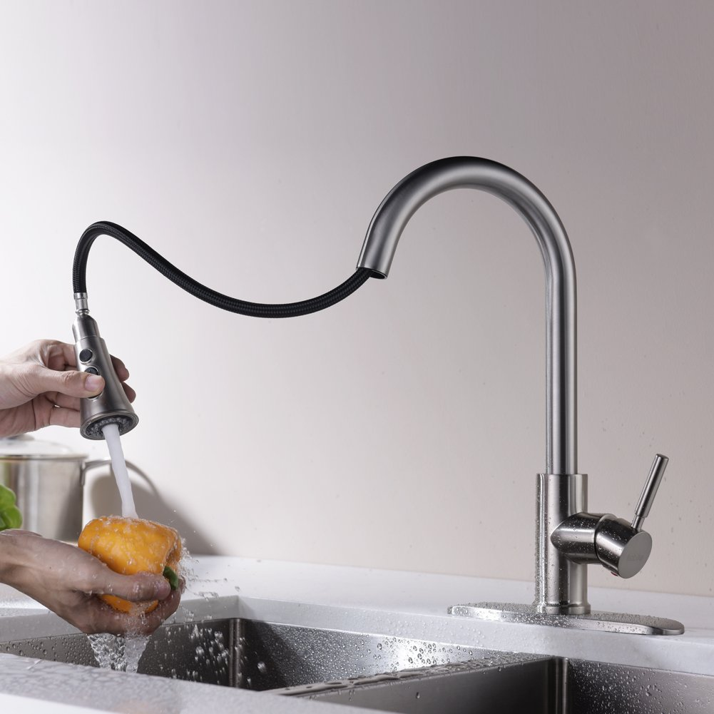 Kitchen Faucets with Pull Down Sprayer - Kablle Commercial Single Handle Brushed Nickel Kitchen Faucet, Single Level High Arch Pull Out Stainless Steel Kitchen Sink Faucets with Deck Plate by Kablle (Image #4)