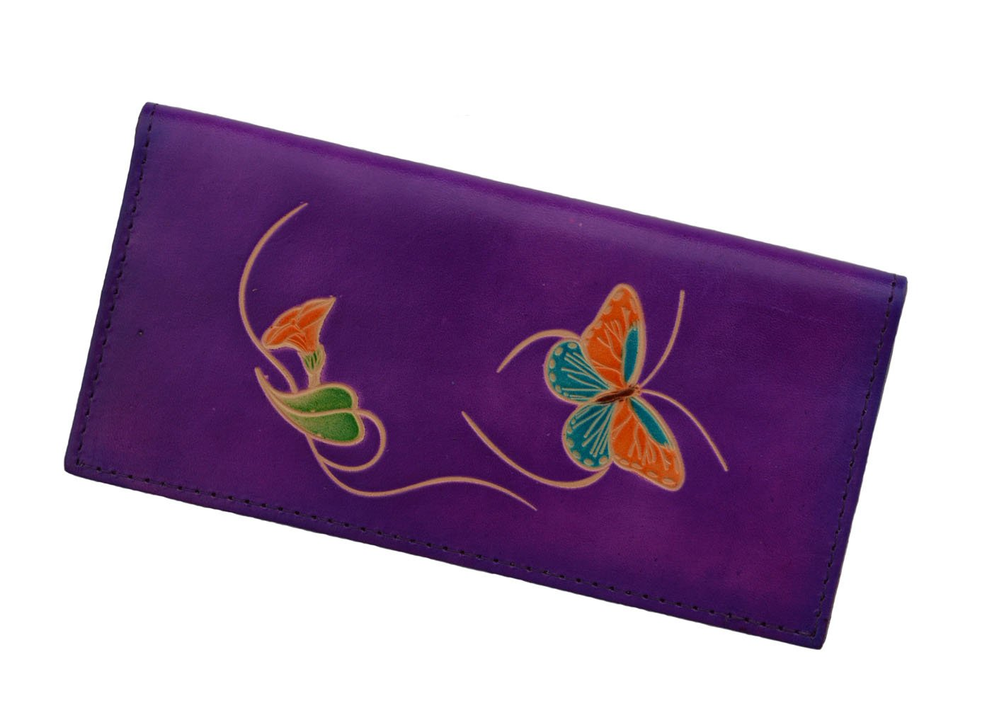 Real Leather Check Book Cover, a Butterfly and Flower Patterns Embossed on Both Side with Different Color(s). (Purple)
