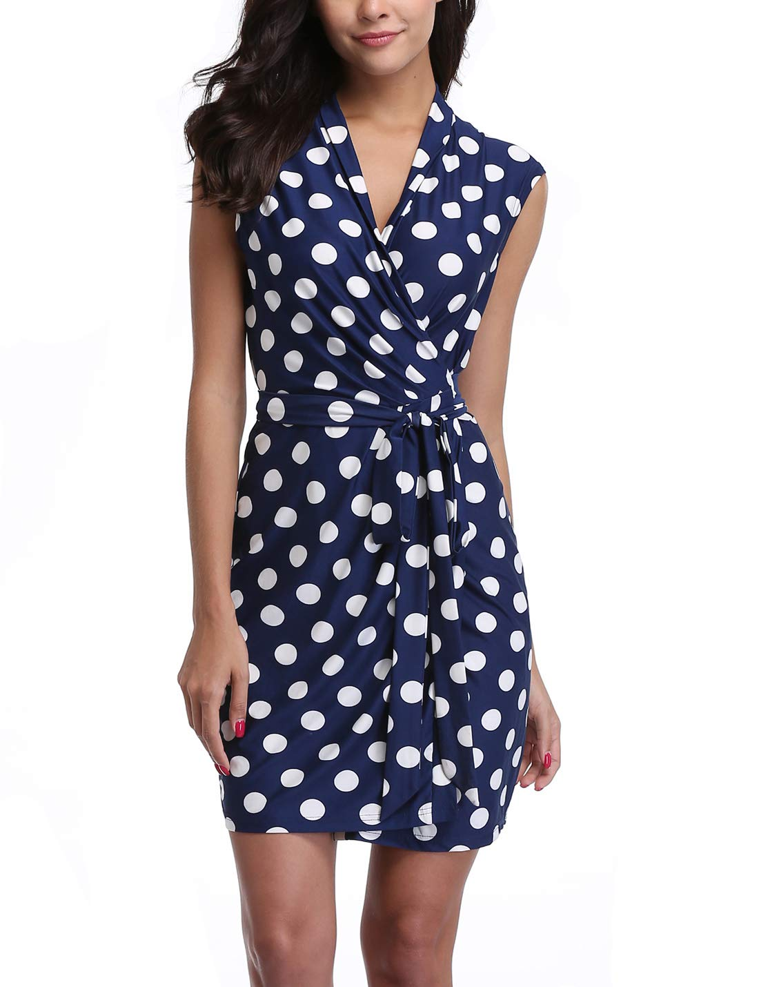 MISS MOLY Women's Knee Length V Neck Sleeveless Tie Waist Polka Dots Casual Romper Jumpsuit Wrap Dress (6 Small, White-Blue)