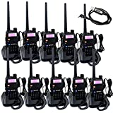 Retevis RT-5R Dual Band Two-Way Radio 5W 128CH VHF/UHF 136-174/400-520 MHz Walkie Talkies(10 Pack) with Programming Cable