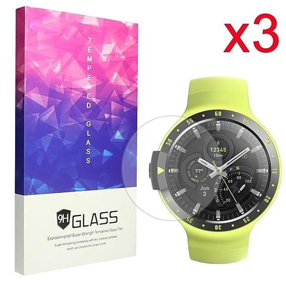 Ceston 9H Protector De Pantalla De Cristal Templado Para Smartwatch Ticwatch E / Ticwatch S (3 Pack)