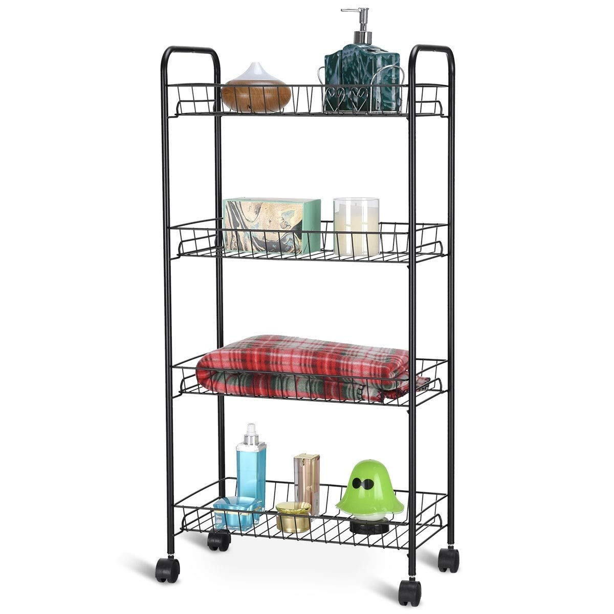 ejoypay 4 Tier Rolling Kitchen Utility Trolley with Storage Shelf Baskets