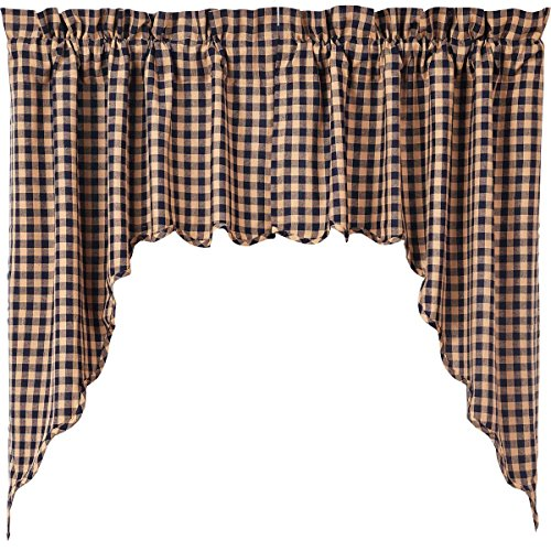 Check Blue Quilt Fabric (VHC Brands Classic Country Primitive Kitchen Window Curtains - Check Blue Scalloped Swag Pair, Navy)