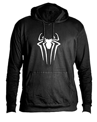 huge selection of 8c193 f4599 MOPIXIE Men s Cotton Long Sleeve Hooded Spider-Man T-Shirt (Black, Small