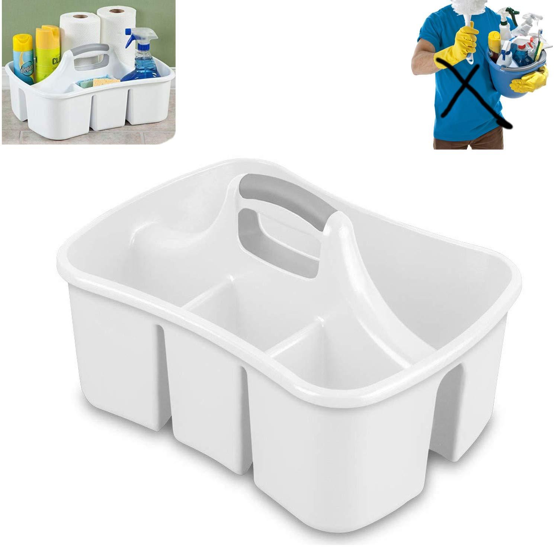 Bath Kitchen Divided Compartment Caddy Storage Sink Organizer Janitors Bucket Soap Cleaning Brush Sponge Bottle Holder Shower Basket Supplies Cabinet Container - 17 3/4'' L x 13 1/4'' W x 8