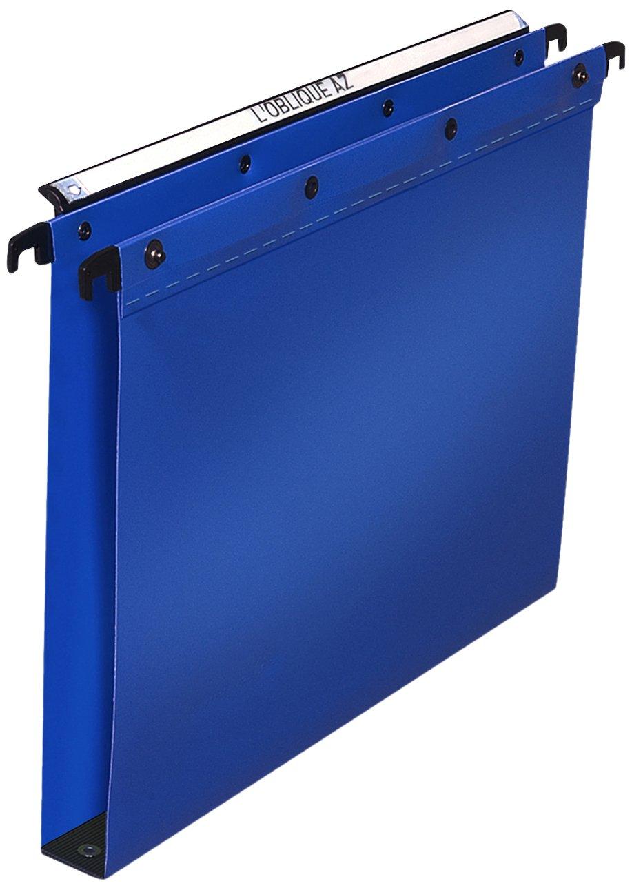 Elba L Oblique Suspension File Polypropylene Vertical for 350 Sheets 30mm Foolscap Blue Ref L380212 [Pack of 25]