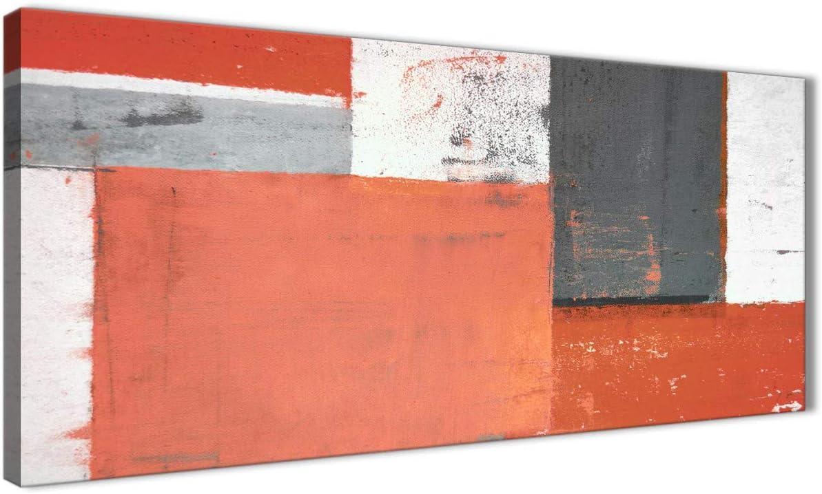 Coral gris abstracto pintura lienzo–moderno 120cm de ancho–1336Wallfillers