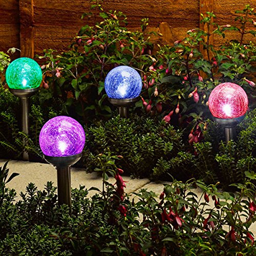 Gigalumi Solar Lights Outdoor Cracked Glass Ball Dual Led