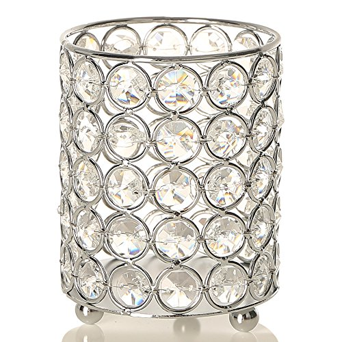 VINCIGANT Silver Cylinder Crystal Tealight Candle/Pen Holders for Modern Anniversary Celebration Home Decorations,Multi Colored LED Starry Copper Wire String Light Included,4.7 Inches - Holder Beaded Candle