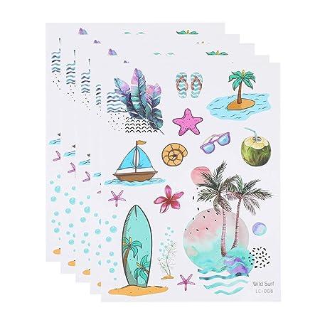 Amosfun 5Hojas / Paquete de Tatuajes Adhesivos Hawaianos Pegatinas ...