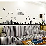 excellent city wall mural Eiffel Tower Sydney Greek City Vinyl Wall Decal PVC Home Sticker House Paper Decoration Wallpaper Living Room Bedroom Kitchen Art Picture DIY Murals Kids Nursery Baby Decor