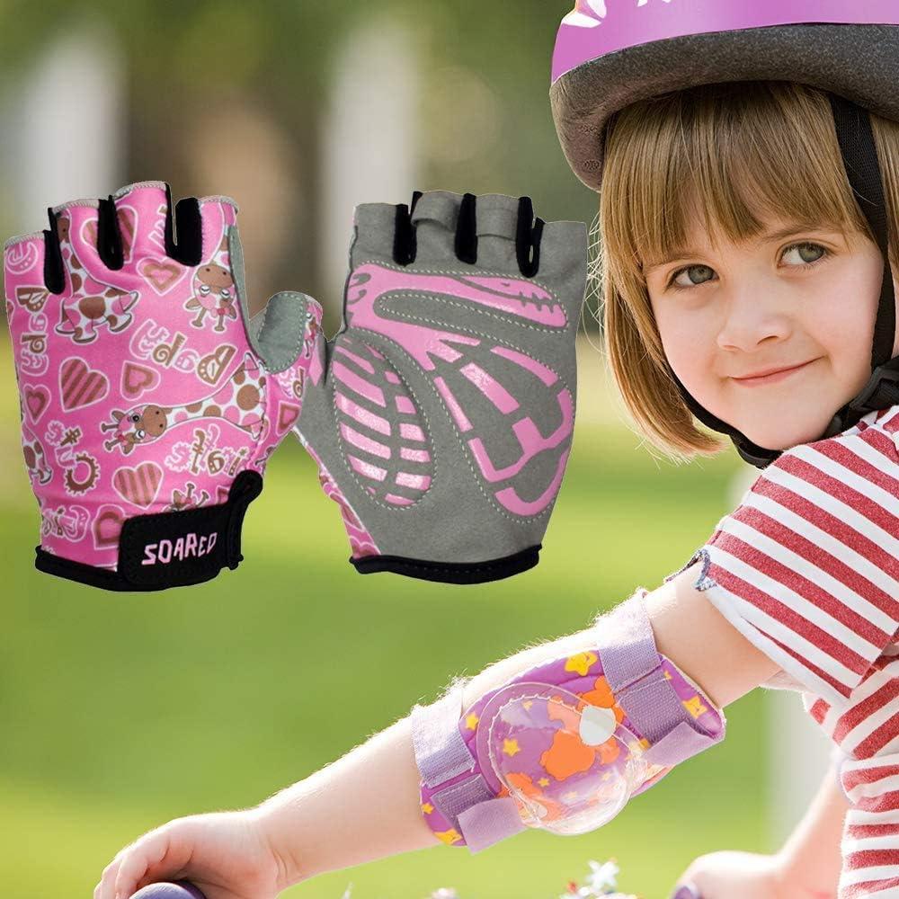 Cycling Gloves Half Finger Kids Boys Girls Riding Bicycle Balance Bike Climbing Gel Gloves Breathable Fingerless Lightweight Shock Absorbing Children Outdoor Sport Gloves 3 Colors Blue//Pink//Yellow
