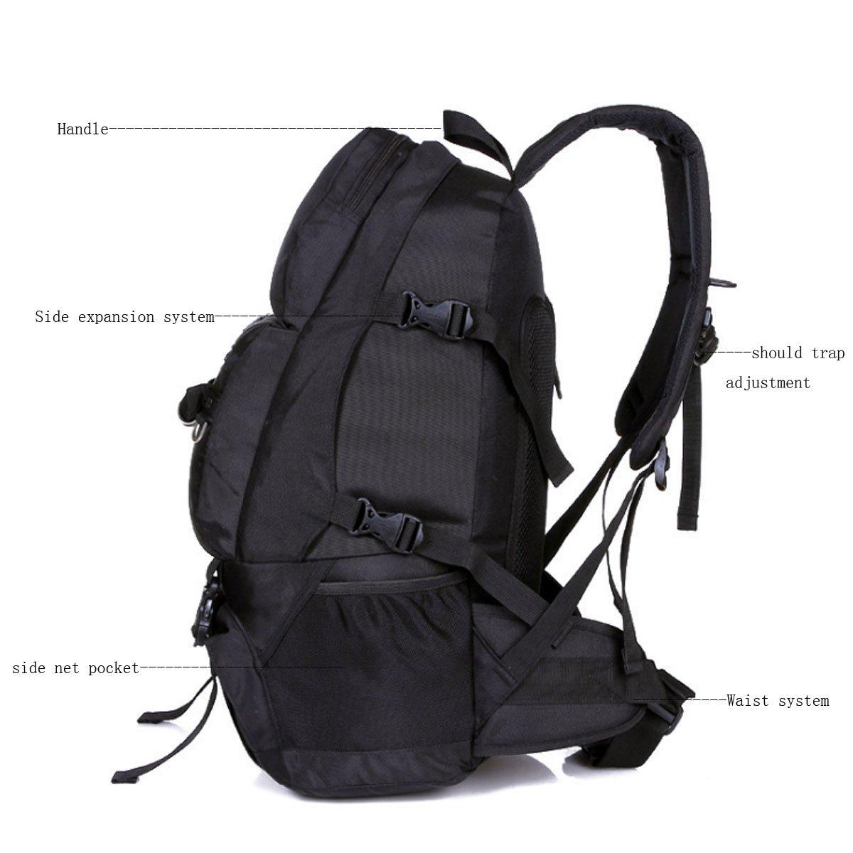 Mochila de trekking impermeable, mochila Locallion para hombre, 40 l / compartimento separado para zapatos, mochila de trekking para camping, ...