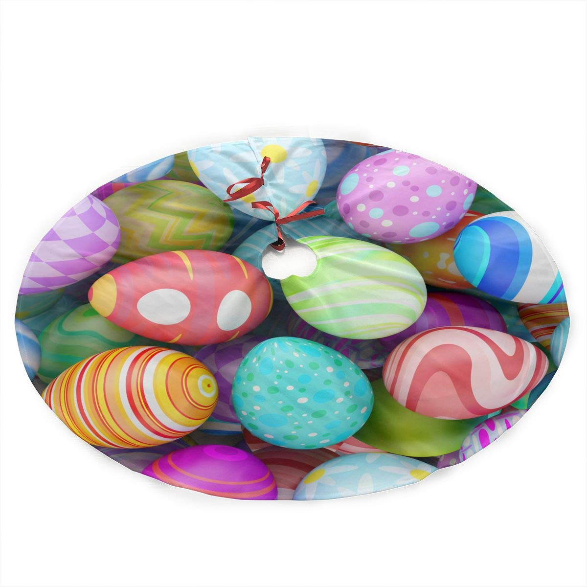 SXKKoin 35.5'' Traditional Holiday Christmas Tree Skirt with Colorful Beautiful Easter Eggs Design