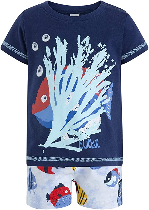 Tuc Tuc Camiseta+Bermuda Punto Peces Ni/ño Arrecife de Cora Conjunto de Ropa para Beb/és