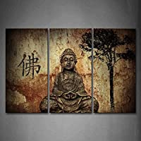 Religion Buddha In Grotto With Chinese Fo Wall Art...