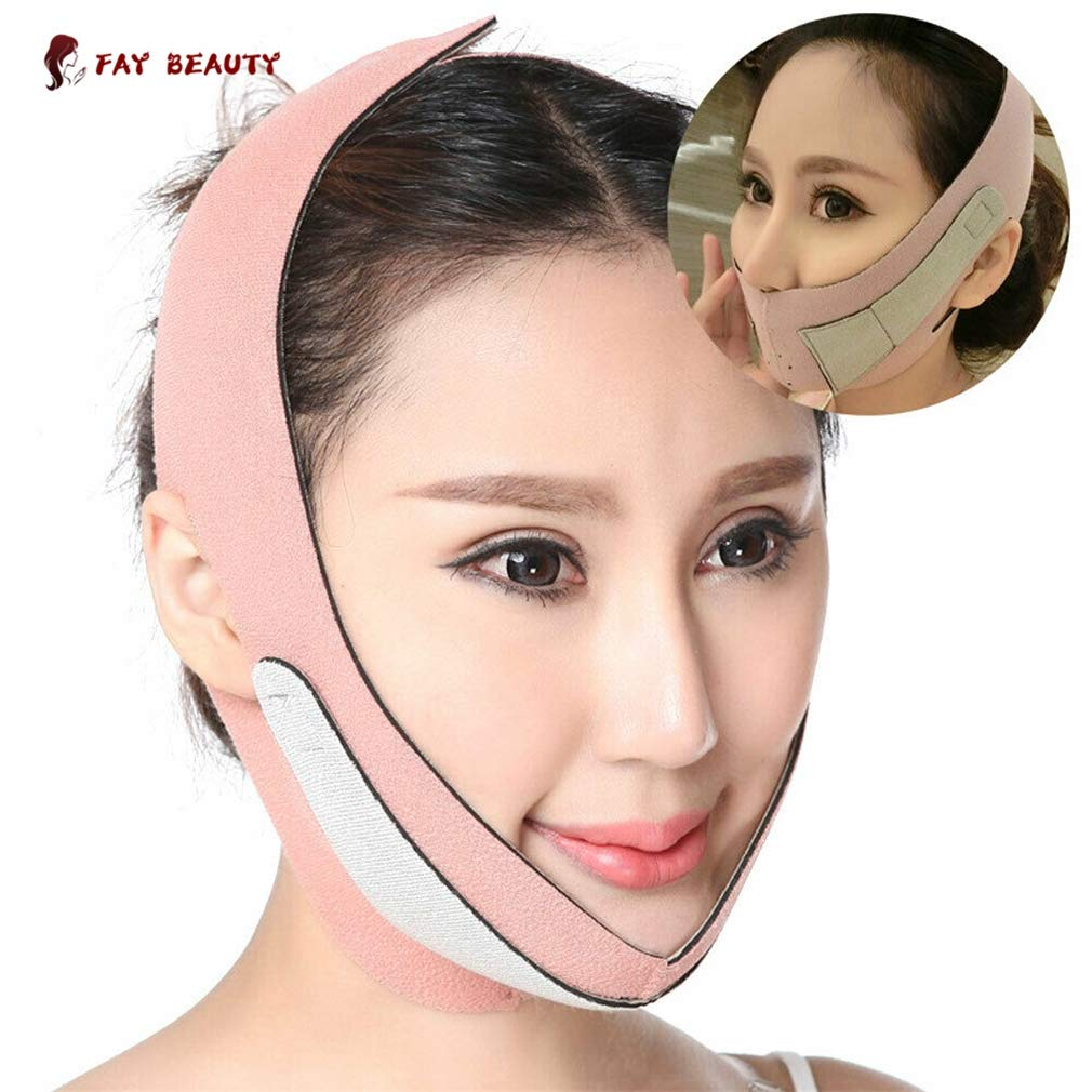 2Pcs Face Lifting Slimming Belt/Double Chin Strap Face Slimming Mask V Face Belt Face-Lift Bandage Lift Chin Cheek Slim Slimming Bandages Breathable