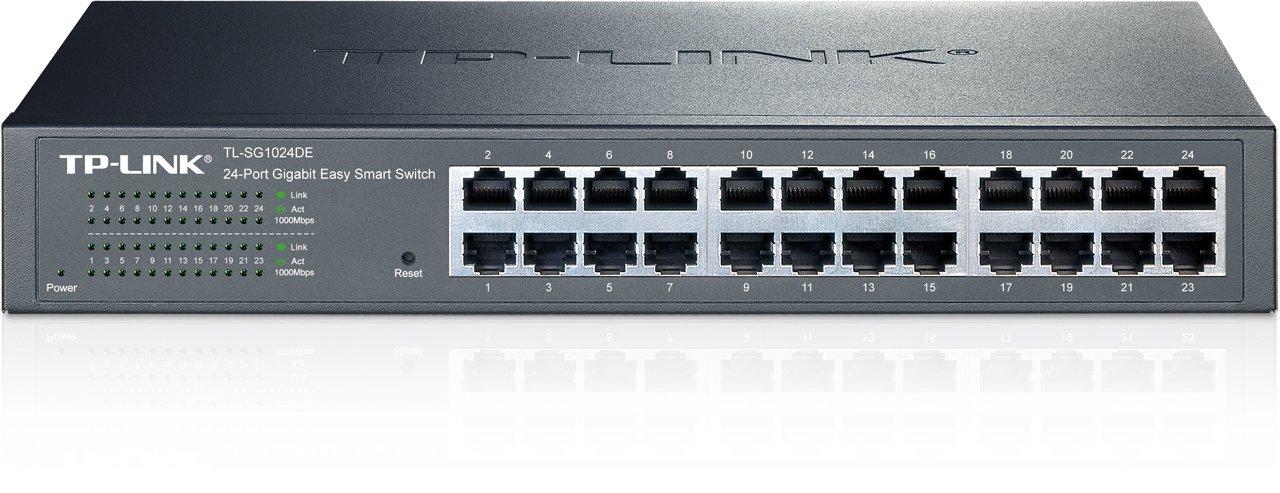 TP-Link 24-Port Gigabit Ethernet Easy Smart Managed Switch | Unmanaged Plus | Plug and Play | Desktop/Rackmount | Metal | Fanless | Limited Lifetime (TL-SG1024DE)