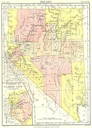 Amazon.com: NEVADA: State map showing counties.Inset Carson ...
