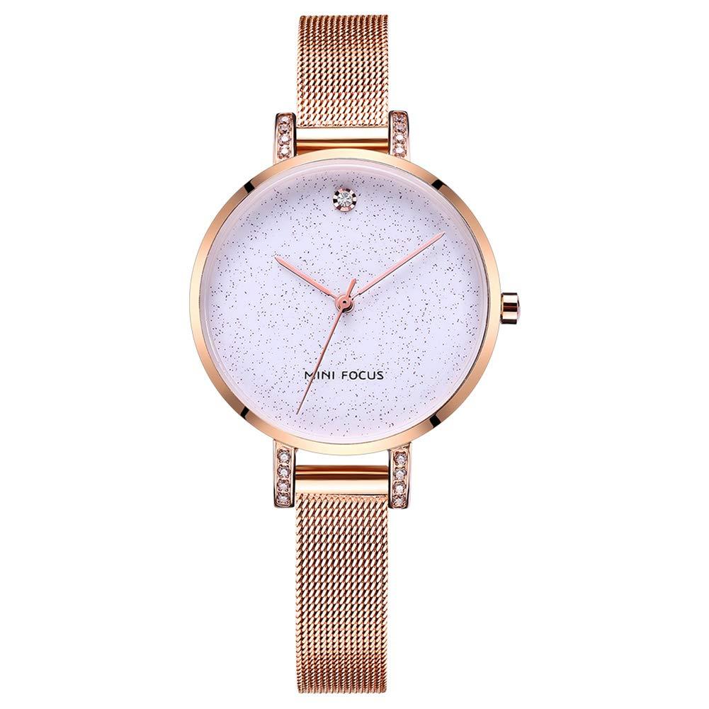 Women's Gold Watch, Mini FOUCS Waterproof Starlight Dial Quartz Lady Watch with Steel Mesh Band (Gold)