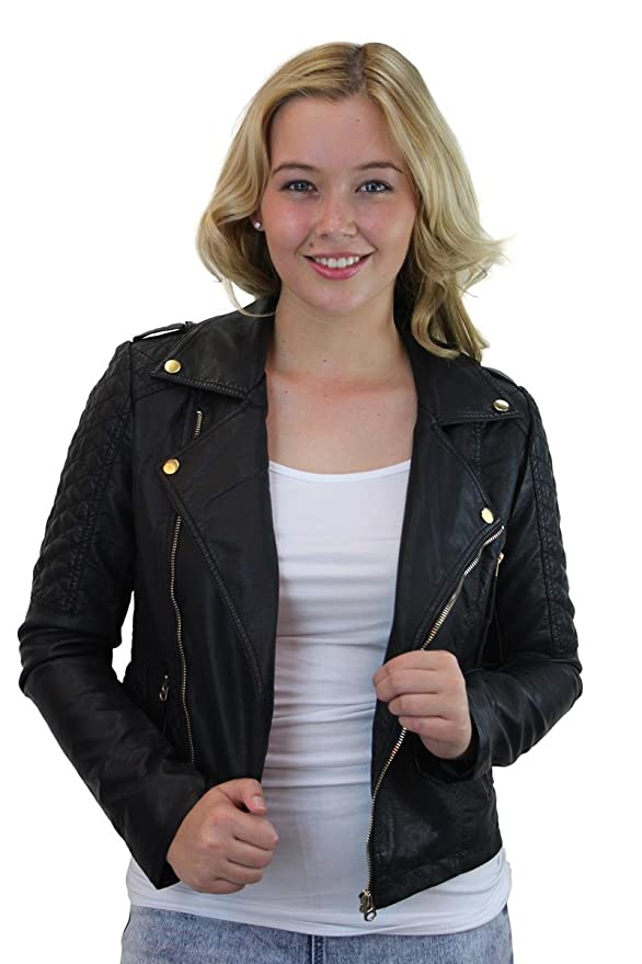 Ladies Quilted Shoulder Faux Leather Biker Jacket At Amazon Womens