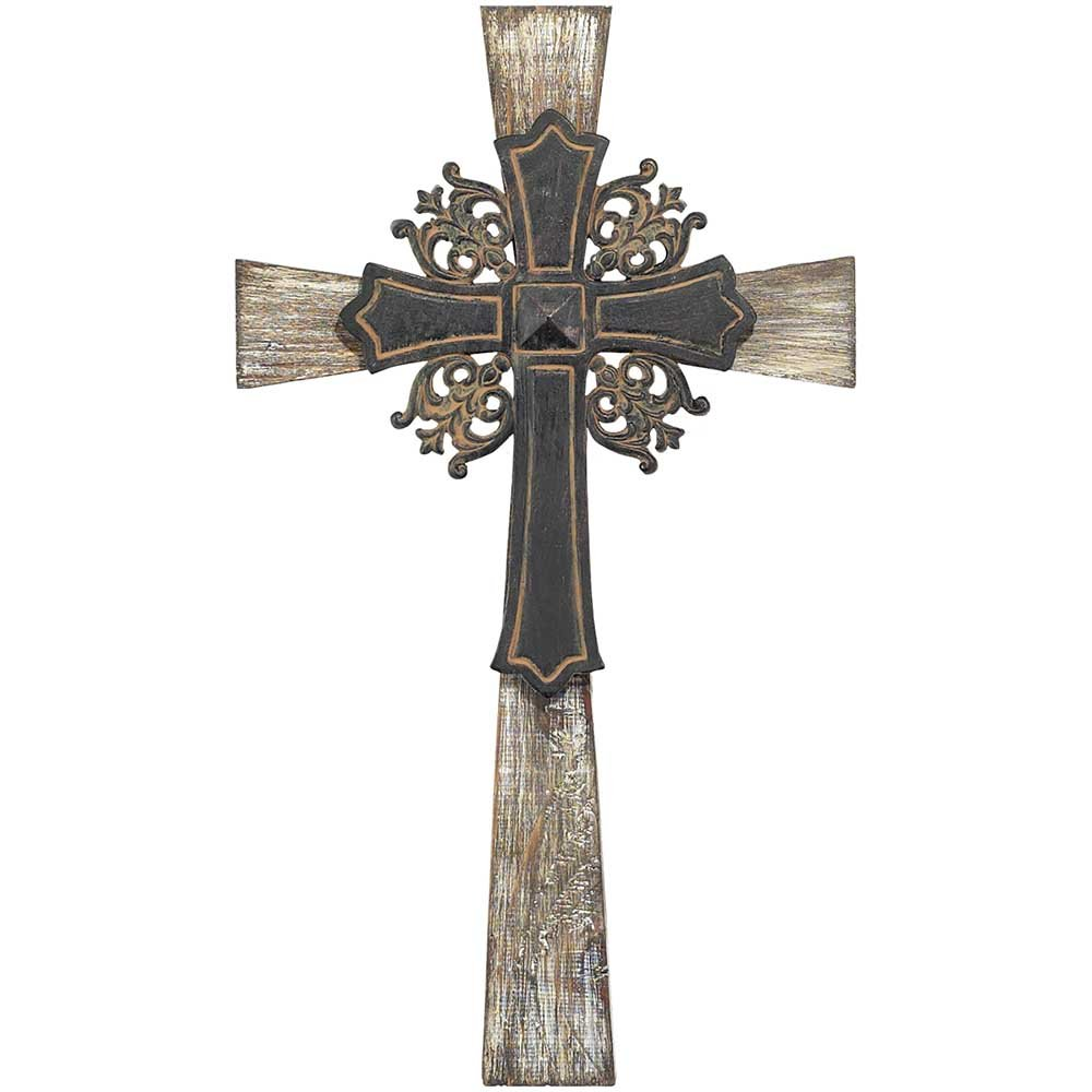 Antiqued Intricate Double Layer 15 Inch Wood and Metal Decorative Hanging Wall Cross Dicksons