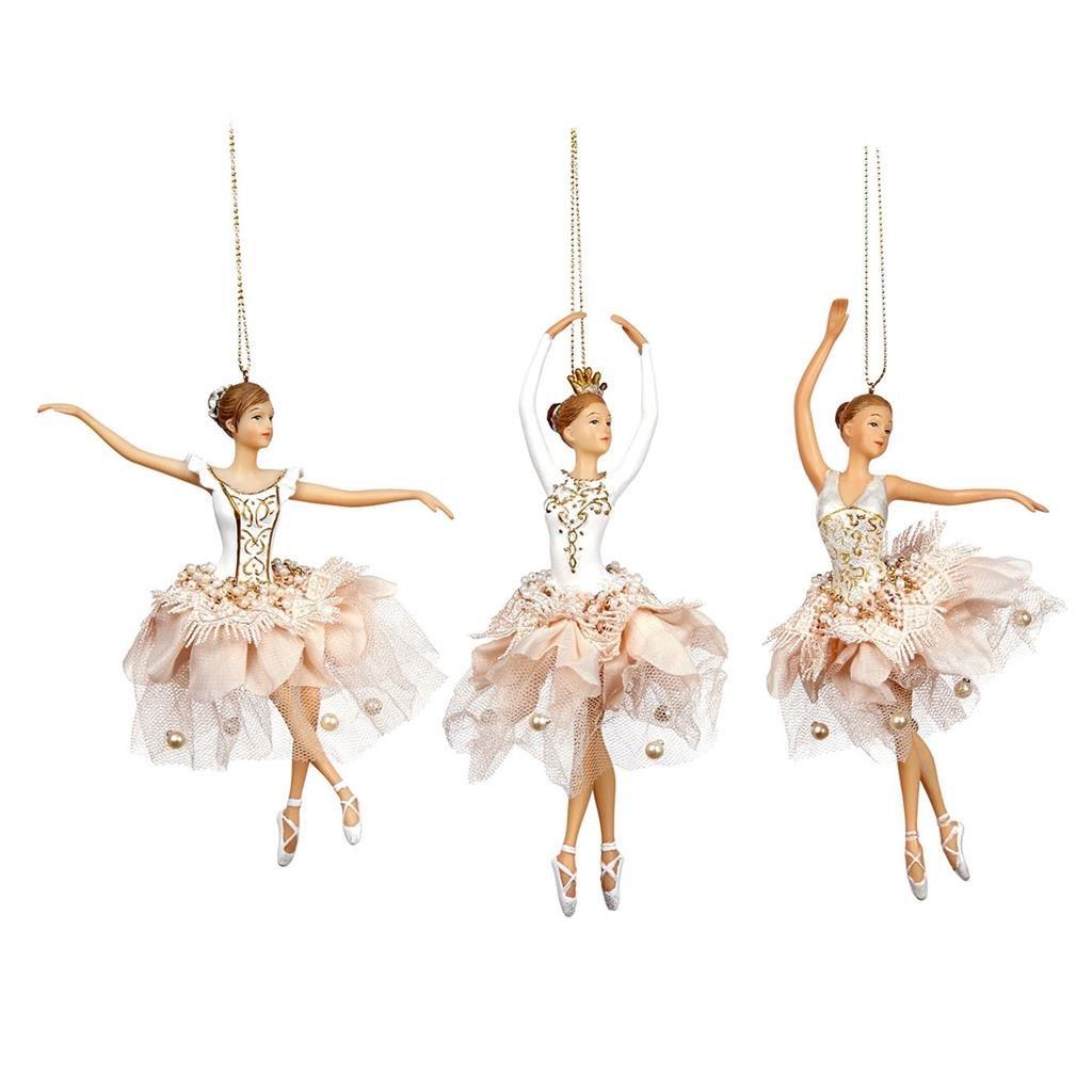 Goodwill Tüll Harz und Stoff Spitze Blütenblatt Ballerina in weiß Weihnachten Ornament – Set von 3