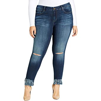 c7119a7af16 William Rast Trendy Plus Size Ripped Fringe Skinny Jeans at Amazon Women s  Jeans store