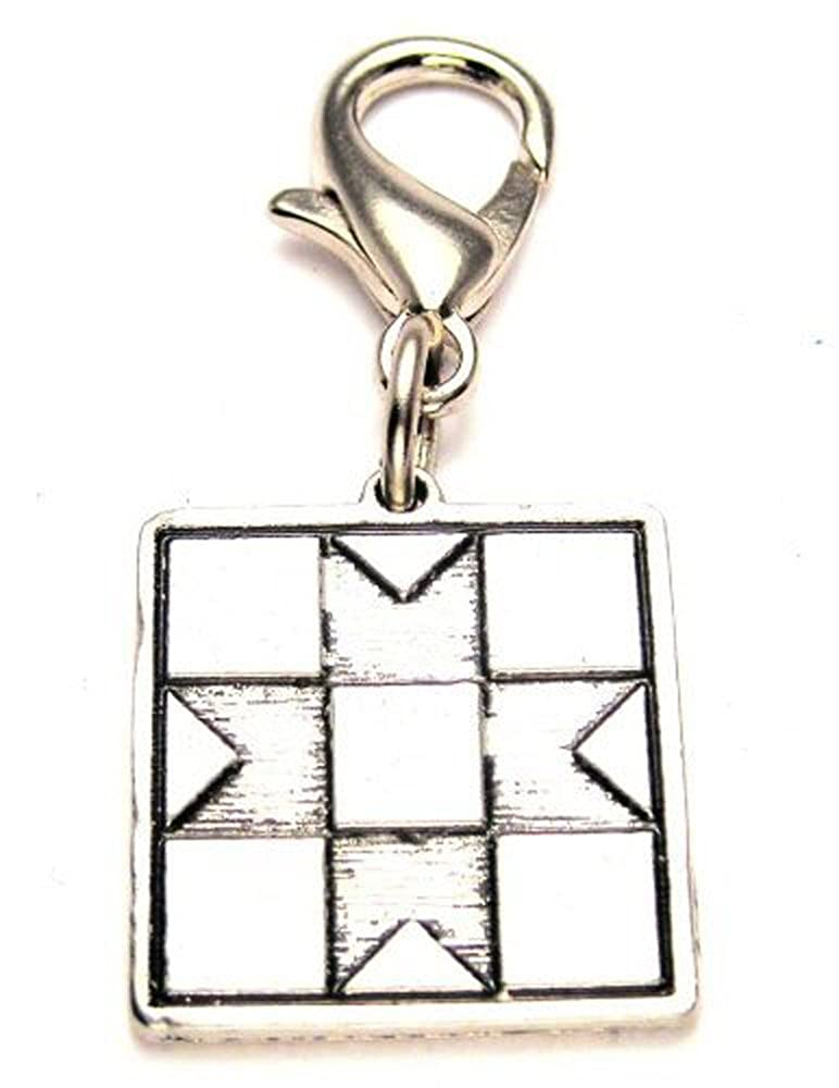 Chubby Chico Charms Quilt Pewter Charm on a Zipper Pull