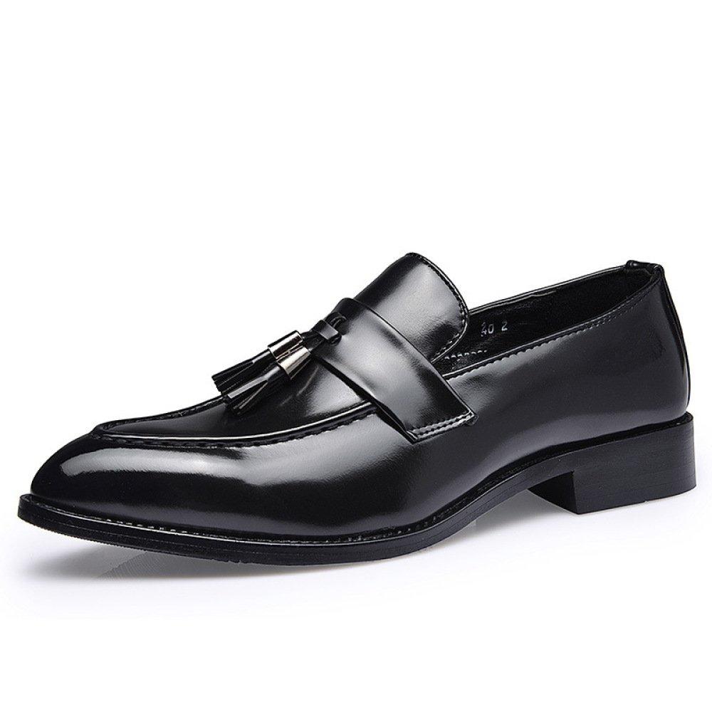Koyi Zapatos con Flecos De Los Hombres Zapatos Casuales Británicos Retro Versión Coreana De Los Zapatos De Marea Antideslizante Comodidad Resistente Al Desgaste 44 EU|Black