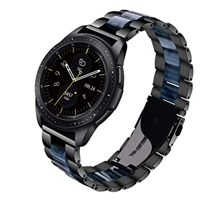 V-MORO for Gear Sport Bands/Galaxy Watch 42mm Band, 20mm Black Stainless Steel Replacement Strap with Blue Resin Bracelet for Samsung Gear Sport ...
