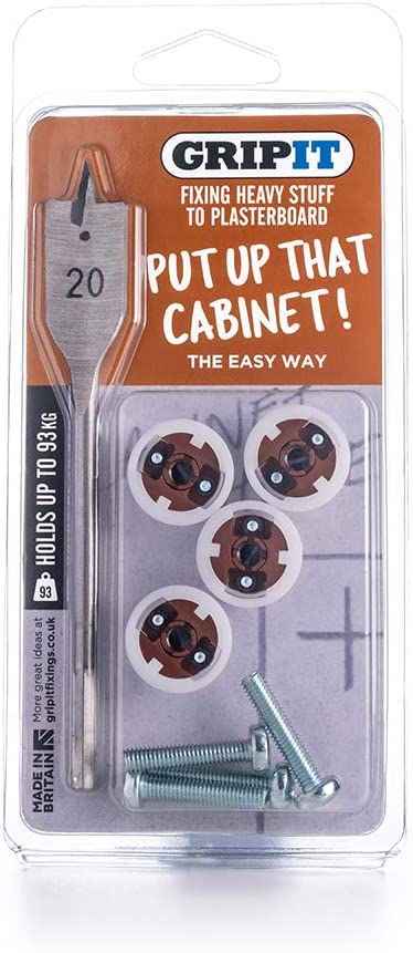 Supports Heavy Loads on Plasterboard Walls Up To 113kg Gripit Mixed Plasterboard Fixing Kit