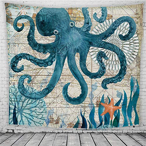 POTENCO Ocean Series Pattern Decoration Wall Carpet Home Decor Hanging Living Printing Wall Tapestry (S2, 150x100cm)