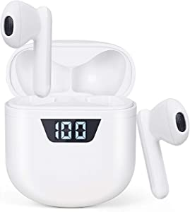 Bluetooth Wireless Earbud Headphones [with 24-Hour Mini LED Display Charging case/USB-C Quick Charge] Built-in Integrated Microphone in-Ear Headphones, for iPhone/Samsung/Android/Apple Airpods