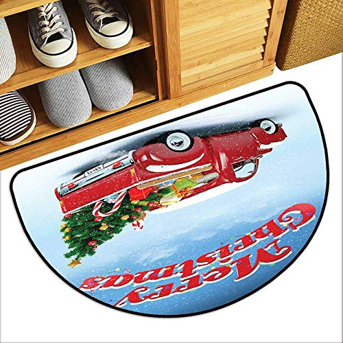 DILITECK Interior Door mat Christmas Pickup Truck Filed with Ornament Cold December Weather Snowflakes Merry Christmas Easy to Clean Carpet W36 xL24 Multicolor