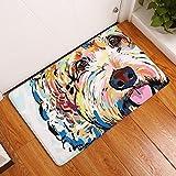 Eazyhurry Colorful Puppy Dog Print Rectangle Thin Doormat Pet Puppy Dog Printed Coral Fleece Home Decor Carpet Kitchen Floor Runner Floor Mat Indoor Outdoor Area Rug 16'' X 24''