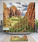 Unique Custom Bathroom 2-Piece Set National Parks Utah Plateau Mojave Desert Southwest Erosion Navajo Artprint Brown Green Shower Curtains And Bath Mats Set, 66''Wx72''H & 23''Wx16''H