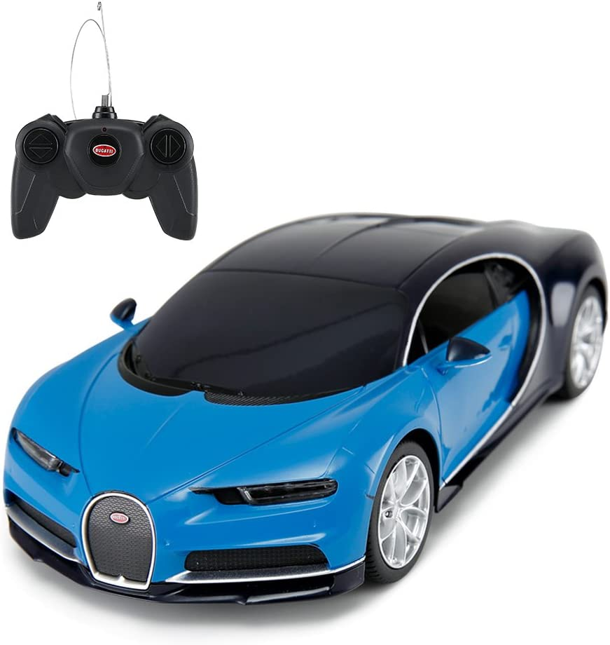 RASTAR Bugatti Veyron Chiron RC Car 1:24 Scale Remote Control Toy Car, Bugatti Chiron RC Model Vehicle for Kids Blue …