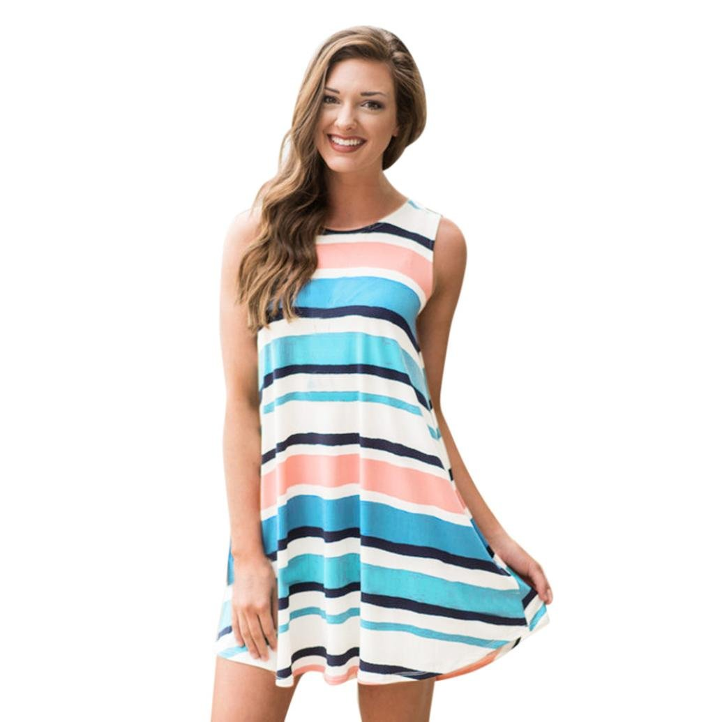 Sunward Women's Casual Stripe T-Shirt Loose Dress, Summer Sundress Sleeveless Dresses (Multicolor, XL)
