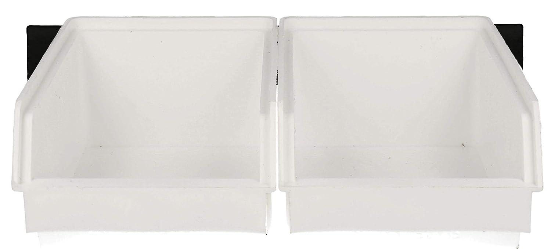 Lantelme 12 St/ück Stapelboxen Farbe Wei/ß Gr3 und 6 Stk Wandleisten schwarz im Set Kunststoff Aufbewahrungsbox 7900