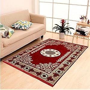 DAILZ Ethnic Velvet Touch Abstract Chenille Carpet – 55″x80″, Maroon